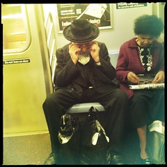 adjusting glasses. f train. (bondidwhat) Tags: nyc newyorkcity people train subway glasses candid citylife culture streetphotography diversity hasidic ftrain newyorkers iphone cultureclash iphoneography hipstamatic