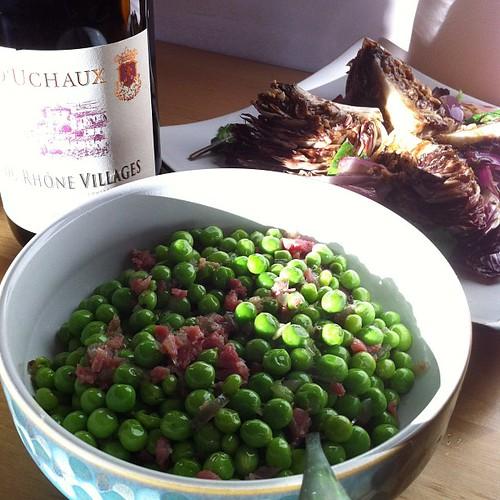 Peas, radicchio, and wine