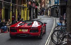 Picadilly Sideways. (Sorin B. VHS) Tags: uk red london bike canon italian circus picadilly gb boris devil lamborghini supercar roadster hypercar aventador supercarsoflondon