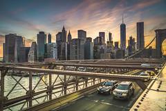 Colorful Clouds of NYC (evmeyerphoto) Tags: nyc newyorkcity bridge pink blue sunset orange newyork water skyline brooklyn clouds photo downtown skyscrapers sony photograph brooklynbridge freedomtower fidi sonyalpha sonyimages sonya6000
