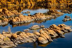 Gold and blue (Elespics) Tags: arizona lake nature landscape rocks watsonlake granitedells