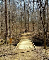 Blockhouse Point Trail (karma (Karen)) Tags: trees signs shadows trails bridges maryland paths montgomeryco blockhousepointtrail