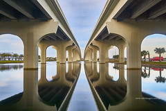 Symmetry (explored) (Valley Imagery) Tags: bridge symmetry jacksonville road reflection usa florida