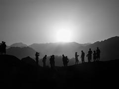 Goodnight Sunshine (kellyhackney1) Tags: sunset people blackandwhite sun mountains monochrome silhouette honeymoon desert memories egypt goodnight tones sinai piccy sinaidesert 6yearsago goodnightsunshine