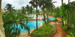 View of the pool from our room balcony @ Zuri (Maurya Rohit) Tags: travel india pool june anniversary goa swimmingpool monsoon zuri 2016