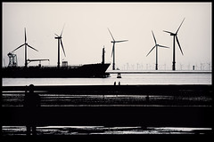Sign of our Times... (Sarah Fraser63) Tags: uk beach monochrome liverpool blackwhite freighter antonygormley windturbines crosbybeach