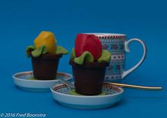 Pip and chocolate with marzipan tulips (arina23111963) Tags: coffee candy sweet chocolate pip marzipan coffeetime pipstudio jorinkbanketbakker