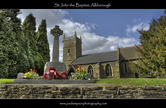 St John the Baptist, Alkborough (Paul Simpson Photography) Tags: uk flowers trees windows england building tower clock church stone wall countryside spring memorial tulips religion wreath cenotaph stjohnthebaptist northlincolnshire photosof picturesof alkborough remembranceservice northlincs imagesof april2010 paulsimpsonphotography