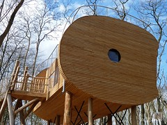 Baumhaus  / tree house (2) (Ellenore56) Tags: wood light sky cloud inspiration color colour detail reflection tree weather architecture clouds licht photo wooden focus foto timber magic perspective himmel wolken treehouse fantasy fantasia fancy vista architektur imagination outlook moment holz magical farbe reflexion brilliant baum resourceful wetter perspektive challenging invention fascinating reflektion absorbing fantasie phantasie augenblick fokus genial phantasy hlzern faszination baumhaus wolfcenter lumer spellbinding faszinierend imaginativeness woodenly ellenore56 panasoniclumixdmcfz38 resourcefully wolfcenterdrverden 08042012