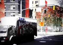 Mobile Canvas (mheidelberger2000) Tags: nyc newyorkcity urban truck graffiti experimental traffic delivery signal bqe clintonhill parkavenue navyyard brookyln lensdistortion ortonprocress