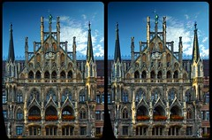 Neues Rathaus Of Munich III 3D :: HDR Cross-View (Stereotron) Tags: 3d 3dphoto 3dstereo 3rddimension spatial stereo stereo3d stereophoto stereophotography stereoscopic stereoscopy stereotron threedimensional stereoview stereophotomaker stereophotograph 3dpicture 3dglasses 3dimage crosseye crosseyed crossview xview cross eye pair squint squinting freeview sidebyside sbs kreuzblick hyperstereo canon eos 550d chacha kitlens 1855mm tonemapping hdr hdri raw cr2 quietearth europe germany bavaria bayern munich münchen architecture neugotik neogothic historismus 3dframe fancyframe floatingwindow spatialframe stereowindow window 100v10f
