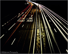 Red & White (MartinSylvester Photography) Tags: road nottingham uk longexposure nightphotography light red england blackandwhite orange white abstract colour art cars beauty lines yellow sepia night contrast photoshop evening highway exposure moody nightout angle britain pov curves creative center panasonic pointofview pointshoot lighttrail shutterpriority dualcarriageway bridgecamera yourbestshot cliftonblvd fz35 dmcfz38 adobelightroom3 theinspirationgroup