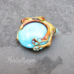 "Turquoise and Tan Glass Bunny - Interchangeable Lampwork Ring Top • <a style=""font-size:0.8em;"" href=""https://www.flickr.com/photos/37516896@N05/7038231543/"" target=""_blank"">View on Flickr</a>"