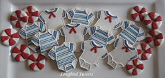 Sailor & Striped Onesies and Itsy Bitsy Lifesavers (Songbird Sweets) Tags: nautical onesies babyshower sugarcookies lifesavers songbirdsweets