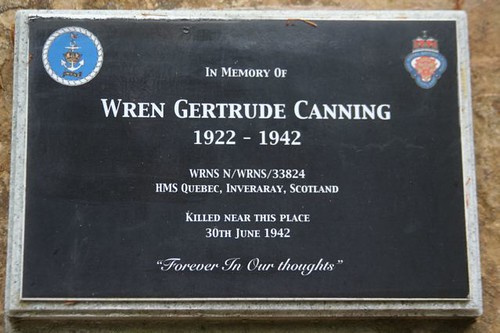 Memorial to Gertrude Canning in Inveraray woods