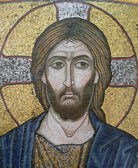 Merciful Christ (Icon), detail of face