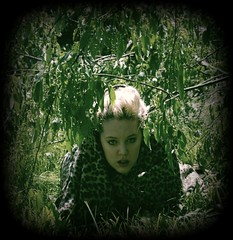 day 005. (H o l l y.) Tags: summer portrait color tree green nature girl self vintage print days blonde cheetah 100 vignette