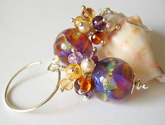 Fireworks (Beguiled By The Bead) Tags: jewellery pearl earrings amethyst lampwork artisan garnet citrine isabellanderson