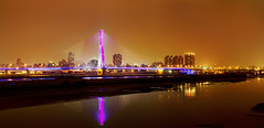 "新北大橋 (Fu-yi) Tags: bridge panorama color scenery sony wide taiwan landmarks nightview alpha dslr 台灣 tones 夜景 風景 1870 橋 全景 formosan 顏色 地標 寬景 福爾摩沙 華江橋 色調 newtaipei ""flickraward"" 新北市 新北大橋 huajiangbridge newnorthbridge"