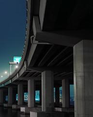 Midnight Corridor (Kenneth Ipcress) Tags: longexposure bridge urban film night concrete hongkong nikon geometry fujifilm 4x5 chamonix largeformat flyover 5x4 160s 90mmf45 160ns nikkorsw pro160ns kennyip 045n2