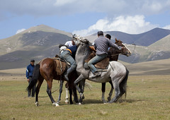 Men Playing A Horse Game, Song Kol Lake Area, Kyrgyzstan (Eric Lafforgue) Tags: horses people horse playing mountains male men animal sport horizontal headless fun mammal four person togetherness amusement asia exterior action contest fulllength culture competition entertainment riding together tradition centralasia kyrgyzstan humanbeing nomads saddle inaction horseriding backview colorphoto contesting bridle horseman fourpeople buzkashi mountainous kyrgyzrepublic inmovement kirghizistan kirgistan 9598 kirghizstan equestriangames kirgisistan fourpersons horsegames  nomadiclifestyle  kokboru ulaktartysh  goatcarcass quirguizisto oglaktartis songkollakearea