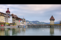 Lucerne (ZawWai09) Tags: lake river switzerland evening europe watertower luzern lucerne hdr wasserturm pilots chapelbridge kapellbrcke reuss reussriver trussbridge lucernelake lucernebythelake