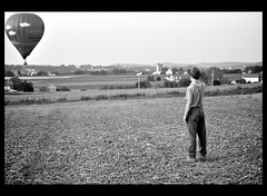 baln (prairieskygal) Tags: bw field balloon amish hotairballoon plain