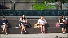 `636 (roll the dice) Tags: uk girls summer portrait people food sun hot colour sexy london art classic fashion lunch reading nice women pretty sitting break natural legs eating candid gap strangers streetphotography unknown canarywharf luch e14 unaware londonist isleofdogs towerhamlets