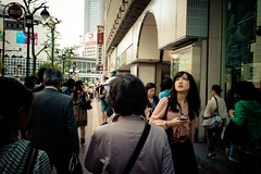 (laffaff) Tags: street leica travel woman girl up japan japanese tokyo shinjuku crossing phone looking candid pedestrian rangefinder japon 2012 tokio m9 japaner japanisch
