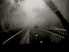 10:50am, Toowoomba, there's always a fog on the A2 (Fat Burns) Tags: blackandwhite fog highway queensland toowoombarange bestcapturesaoi elitegalleryaoi