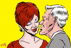 silver fox and big red (robolove3000) Tags: ink sketch kiss comic drawing joan lips redhead halftone roger amc brushpen madmen christinahendricks johnslattery