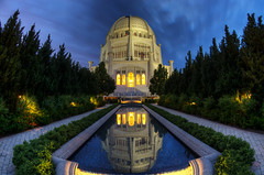 Mirror, Mirror, on the Floor (Brian Koprowski) Tags: chicago reflection church fountain pool architecture temple illinois pentax faith religion chapel symmetry fisheye bluehour bahai chicagoriver hdr wilmette pentaxk5 briankoprowski bkoprowski