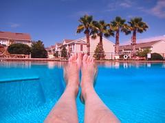 Relaxing in the pool (aluvendale) Tags: blue summer tree me water pool canon teal palm powershot jenn waterproof 2012 d20 shockproof