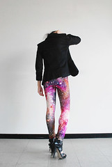 Galaxy printed leggings by Mitmunk (heatherjoan) Tags: pink black art girl fashion vancouver studio stars design clothing high shoes pattern bc legs heather pegasus tights andromeda heels local cosmic constellation stilettos mitmunk