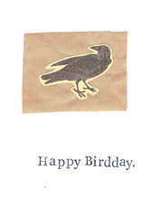 Natural History Bird Birthday Card (bluespecsstudio|etsy) Tags: birthday brown white bird nature animals collage vintage paper happy weird funny natural handmade crafts rustic goth science ephemera card crow etsy raven biology greeting steampunk