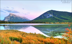 Beauty of Vermilion Lakes. (evelyng23) Tags: autumn sunset canada mountains fall beauty landscape prime september alberta banff hdr banffnationalpark godscountry canadianrockies aficionados 2015 vermilionlakes 3exp pentaxda15mmf4limited evelyng23 pentaxk3