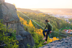 Highlining in the sunrise (thejoltjoker) Tags: slacklife highlining adventure sunrise slacklining gothenburg sweden gothenburghighlinemeeting2016 2016 slackline dailies stock