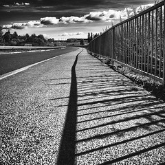 Clouds and shadows lines (Vanvan_fr) Tags: road city shadow sky urban blackandwhite bw france lines square photo noiretblanc ombre line route ciel squareformat gr ville cloudysky ligne carr urbain