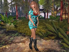 Jungle Fever (thewhitpit) Tags: blue trees brown outside boots blueeyes tan makeup jewelry jungle brunette minidress crom truthhair blacklacebeauty lavianco itindulgetemptation