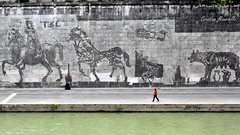 Smog Art (Cristian Mauriello) Tags: street city light people urban italy rome color roma green art water river landscape smog italia walk tiber tevere murales luce