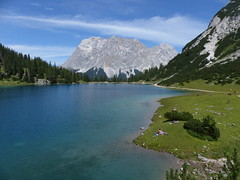 Seebensee with Zugspitze massif (Christa_P) Tags: lake mountains alps landscape austria tirol sterreich europe view outdoor hiking urlaub berge ehrwald alpen aussicht bergsee landschaft vacations wandern tyrol wetterstein