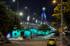 Blue mood (Roving I) Tags: lighting trees design mood colours bridges atmosphere vietnam nightlife danang hanriver