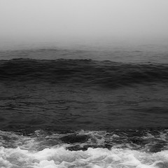 Lakeside Fog 043 (noahbw) Tags: autumn blackandwhite bw mist lake storm abstract water monochrome weather misty fog square landscape blackwhite nikon waves natural horizon shoreline foggy bubbles stormy minimal shore minimalism d5000 noahbw
