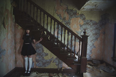 (yyellowbird) Tags: wallpaper house selfportrait abandoned girl stairs illinois cari