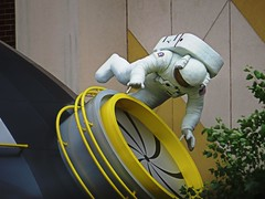 IMG_4202 (kennethkonica) Tags: summer usa white art yellow statue museum architecture america canon midwest random outdoor indianapolis helmet culture indy indiana astronaut outerspace global canonpowershot hoosier marioncounty indianapolischildrensmuseum