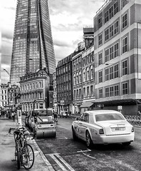 If the Shard had been built in the 60's perhaps it would have looked like this  (juliavhill) Tags: england blackandwhite london londonbridge rollsroyce shard theshard blackandwhiteedit