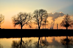 A Perfect Scene (Ruined) (Ryan J. Nicholson) Tags: life trees sunset sun nature station night river landscape golden spring nikon village seasons power cloudy yorkshire east riding tones ouse drax goole d90 airmyn