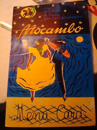 Menu at Mocambo