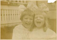 Little rays of sunshine (sctatepdx) Tags: found vernacular vintagekids vintagechildren laughingkids oldsnapshot laughingchildren vintagesnapshot bighairbows