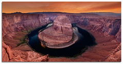Horseshoe Bend (Del.Higgins) Tags: sunset arizona orange del clouds river spring colorado bend north grand olympus canyon cliffs upper dell page antelope april horseshoe e3 lower rim vermilion buckskin oly afterglow gulch delhiggins